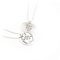 """His One, Her Only"" Stamped Pendant Necklace , necklace - ornacraft"