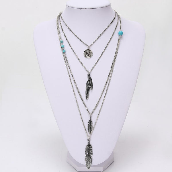 Multilayer Feather Pendants and Turquoise Stone Necklace , necklace - ornacraft