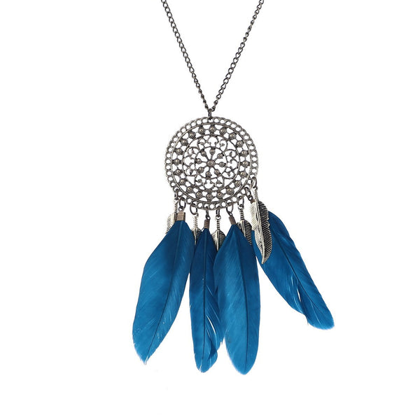 Collier Femme Plume Native American Fringe Feather Necklace