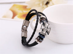 Cross Charms Braided Leather Bracelet , bracelet - ornacraft