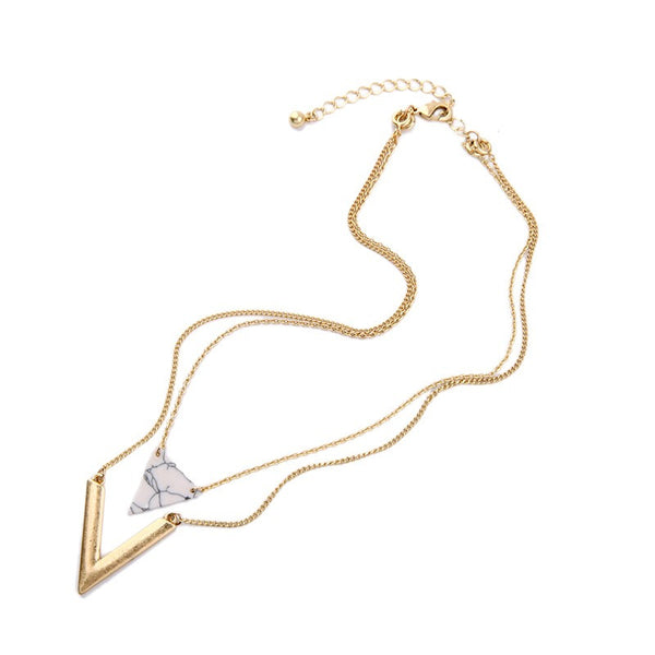 Multilayer Artificial Marble Triangle Pendant Necklace , necklace - ornacraft