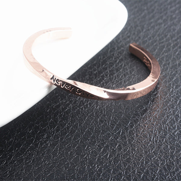 NEVER GIVE UP engraved Bangle Bracelet
