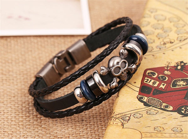 Skull Charms Black Leather Braided Bracelet , bracelet - ornacraft