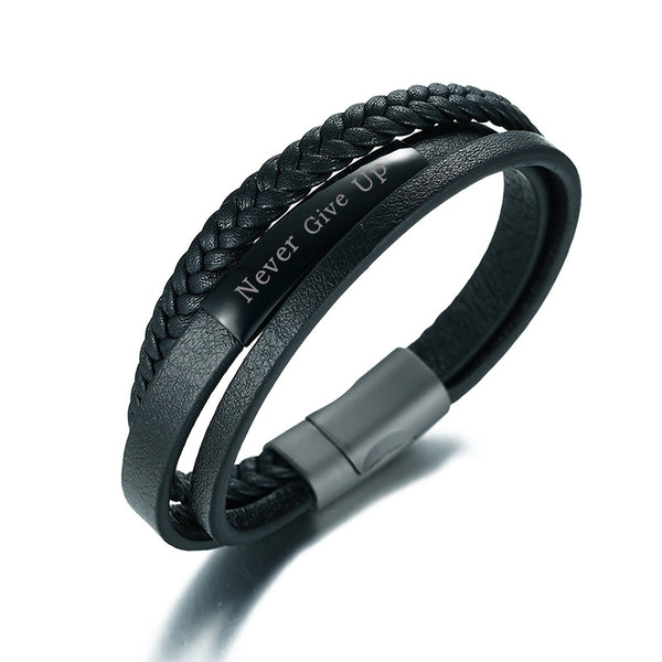 "Black Genuine Leather Engraved ""Never Give Up Bracelet"