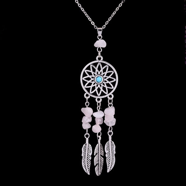 Antique Feather Dreamcatcher Reiki Necklace , necklace - ornacraft