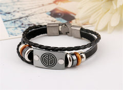 Peace Charm Black Leather Bohemian Bracelet , bracelet - ornacraft