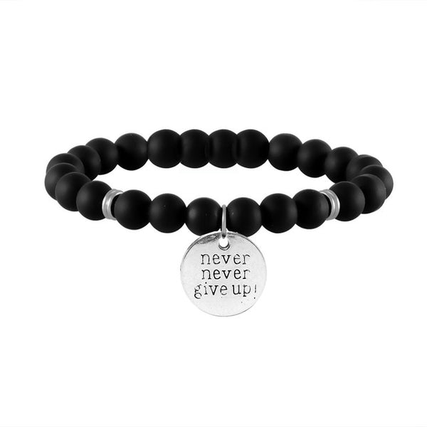 NEVER GIVE UP Engraved Beaded Inspirational Bracelet
