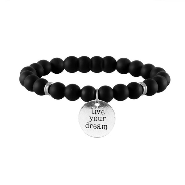 Live your Dream Engraved Beaded Inspirational Bracelet