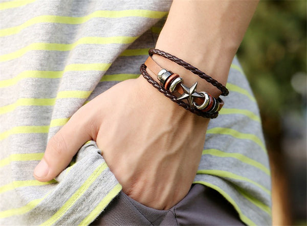 Star Charms Leather Braided Bracelet , bracelet - ornacraft