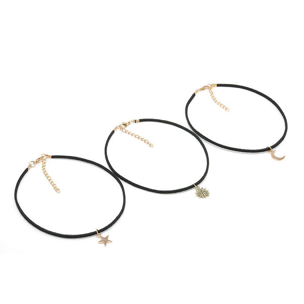 3 Pcs Sets Black Velvet Star Moon Sun Pendant Choker Necklace , necklace - ornacraft