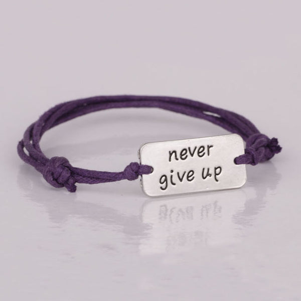 "Simple Inspirational ""Never give up"" Bracelet , bracelet - ornacraft"