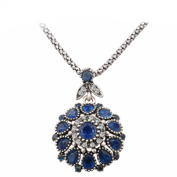 Gorgeous Bohemian Vintage Plated Crystal Pendant Long Necklace