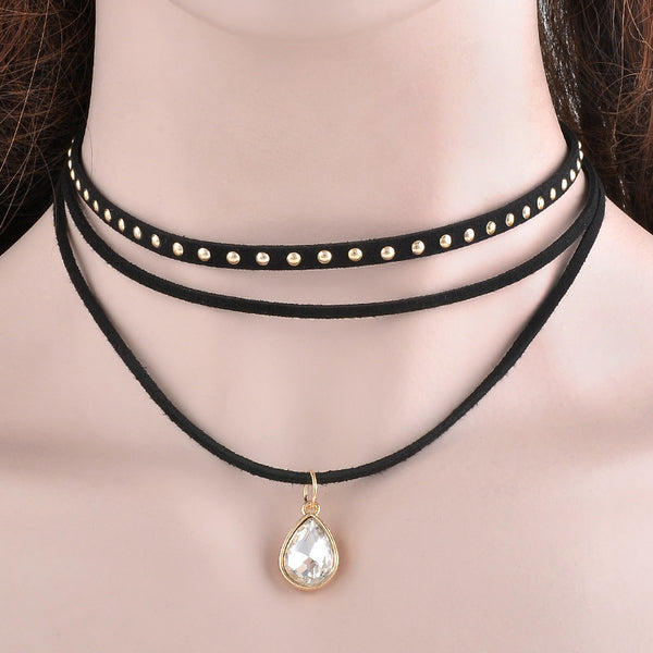 Multilayer Black Ribbon Chocker Crystal Necklace , necklace - ornacraft