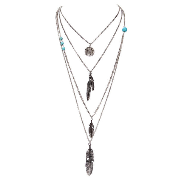 Multilayer Feather Pendants and Turquoise Stone Necklace