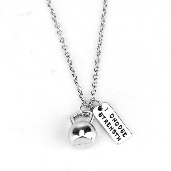 KETTLEBELL I CHOOSE STRENGTH Pendant Necklace