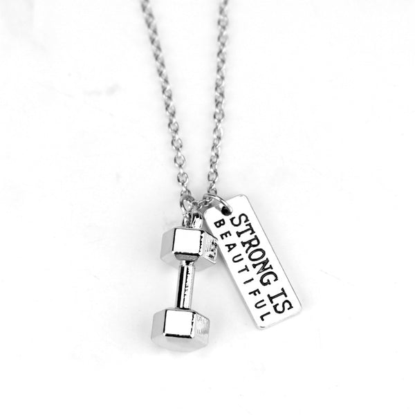 Dumbbell STRONG IS BEAUTIFUL Quote Pendant Necklace