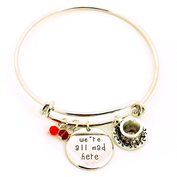 """We're All Mad Here"" Hand Stamped Bangle Bracelet"