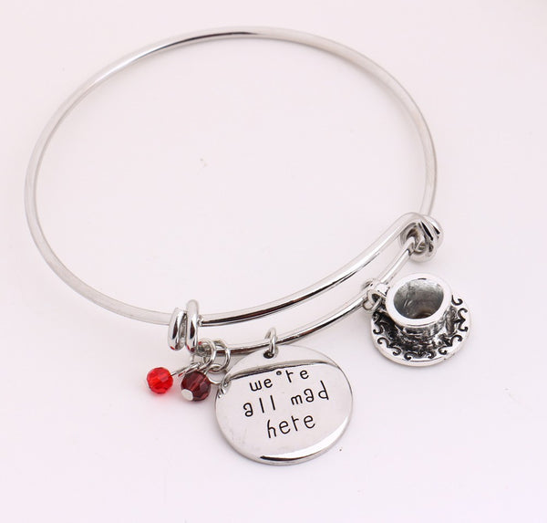 """We're All Mad Here"" Engraved Bangle Bracelet"