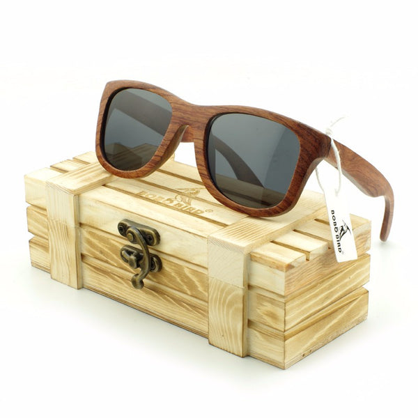 Brown Retro Square Zebra Bamboo Wood Sunglasses