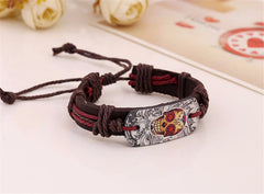 Dark Brown Leather Skull Charm Bracelets , bracelet - ornacraft