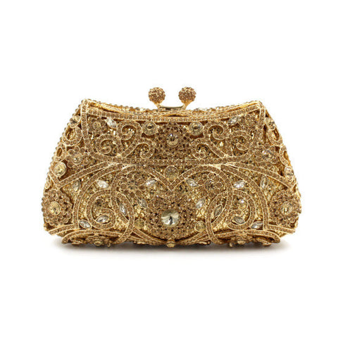 Enchanting And Versatile Gold Crystal Clutch
