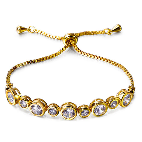 Gold Plated Circle Shape Brass Charm Bracelet
