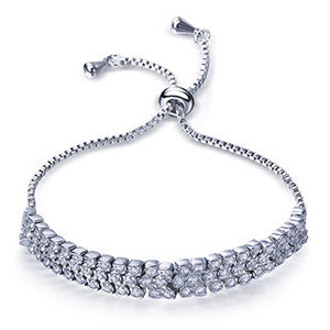 Three Row Round shape Clear White & Gold Zirconia Bracelet