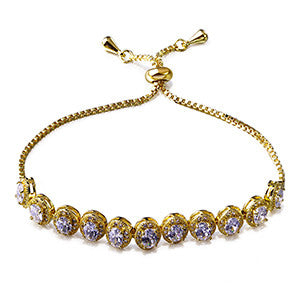 Oval shape Zirconia Brass Bracelet