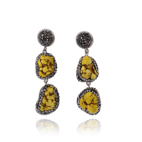 Geometric Pattern Natural Stone Vintage Drop Earrings