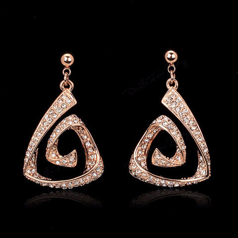 Diamond Vintage Rose Gold Dangle Earrings