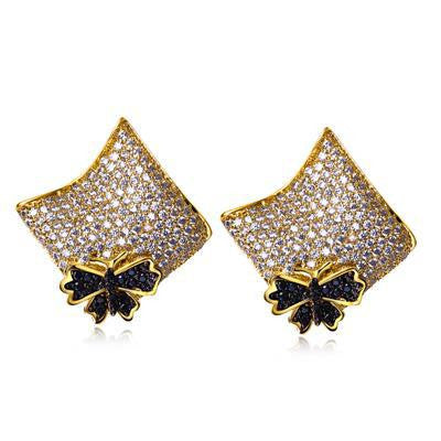 Elegant and Trendy Contrast Design Butterfly Square Earrings