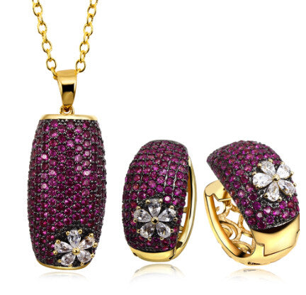 Classic Gold Tone Ruby Flower Pendant Jewelry Set