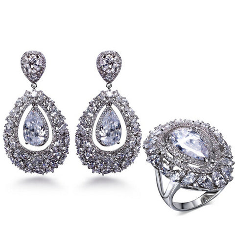 Teardrop White Gold Cubic Zirconia Earrings-Ring 2pcs Set