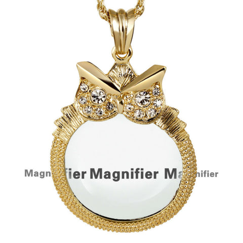Classic Owl Shape Magnifying Glass Chain Pendant Necklace