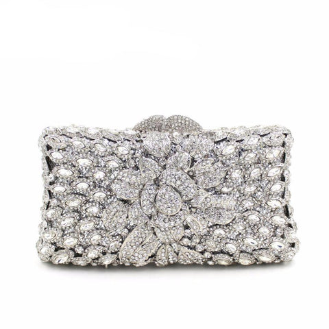 Women Floral Crystal Party Clutch