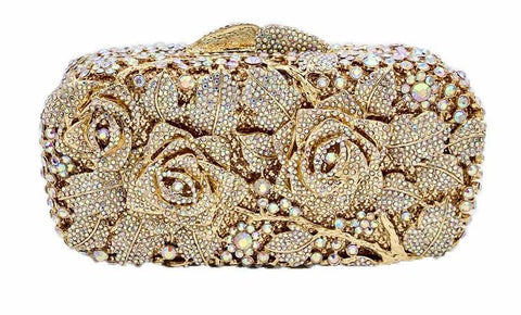 Bridal Metal Floral Party/Wedding Clutch