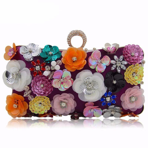 Vintage European Style Beaded Floral Fashion Clutch