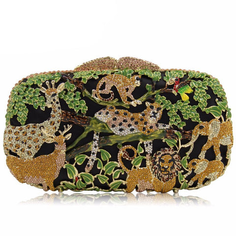 Women Crystal Zoo Animal Party Clutch