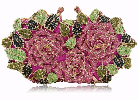 Luxury Floral Crystal Evening Clutch