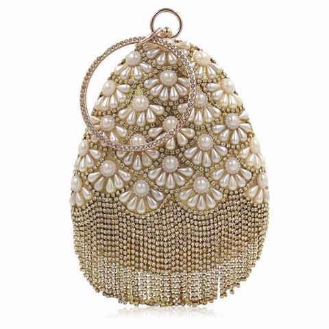 Ladies Vintage Beaded Rhinestone Clutch