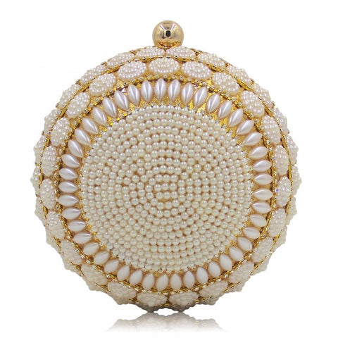 Women Round Luxury Beaded Clutch