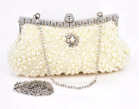 Evening Cocktail Pearl Crystal Clutch