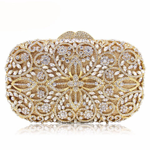 Women Gold Crystal Evening Party/Wedding Clutch