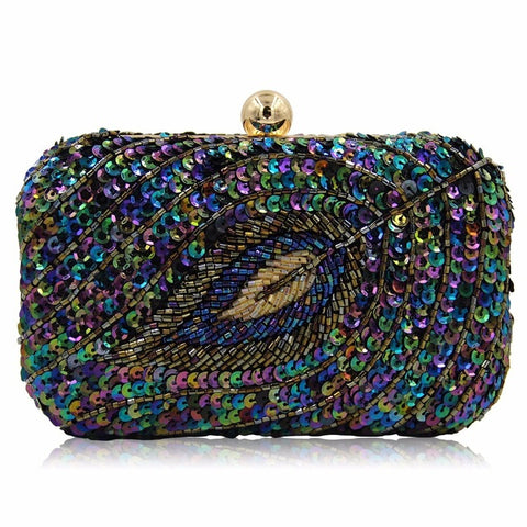 Ladies Evening Sequined Beaded Wedding Party Clutch