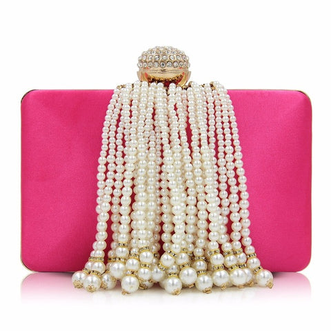 Pearl Tassel Beaded Wedding/Party Clutch