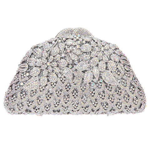 Crystal Floral Evening Clutch Purses For Women