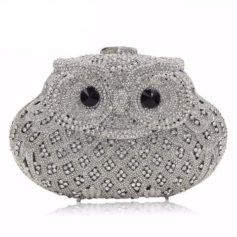 Owl Shaped Crystal Evening Clutch