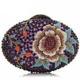 Women Crystal Red Purple Floral Party Clutch