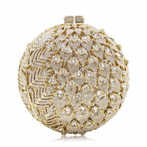 Women Luxury Pineapple Style Crystal Clutch