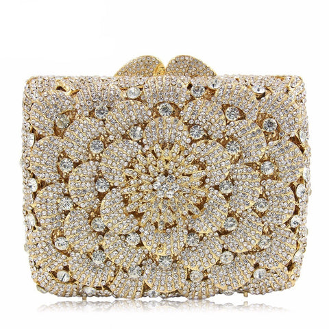 Crystal Square Gold Floral Evening/Party Clutch